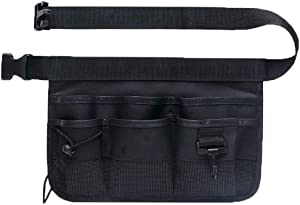 SYOOY Adjustable Garden Waist Bag Hanging Pouch Gardening Tooling Belt Organizer with 7 Pockets of Different Sizes and Adjustable Belt - Black
