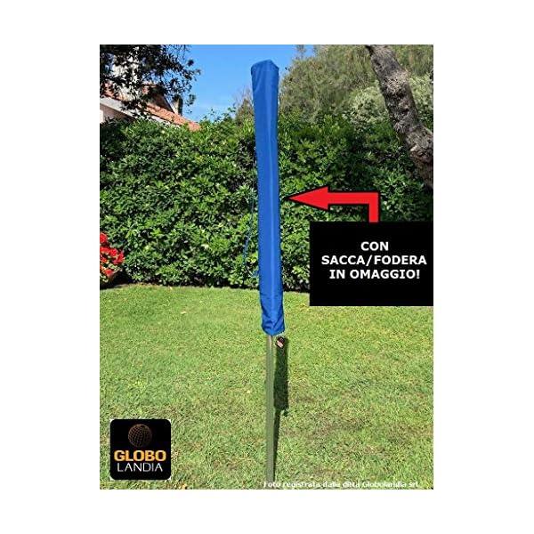 GLOBOLANDIA SRL 89503BLU - Ombrellone Parasole da Spiaggia in Alluminio da 220 cm con Snodo per la Reclinazione Colore… 3 spesavip