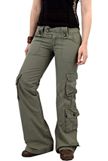 9e0dd2305c4a5 Flomya Women Loose Fit Military Multi-Pockets Cargo Pants Ladies Combats  Outdoor
