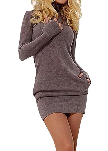 Simple-Fashion Donne Autunno e Inverno Maglioni Vestiti Sexy Strette Mini  Abiti da Partito Club Festa Quotidiani Moda Manica Lunga Vestito a Tubino   ... 4ad094f276a
