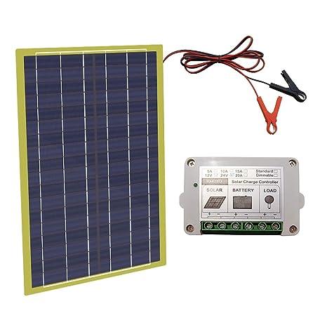 ECO-WORTHY kit panel solar 12V 20W epoxi W/PWM 10A controlador para 12V de carga de la batería.