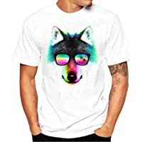 T-Shirt Homme Blanc, Hommes Funny Animal Imprimer T-Shirts Chemise à Manches Courtes Casual T-Shirt, Douce Confortable Modal Homme T-Shirt Grande Taille S~4XL Ba Zha Hei