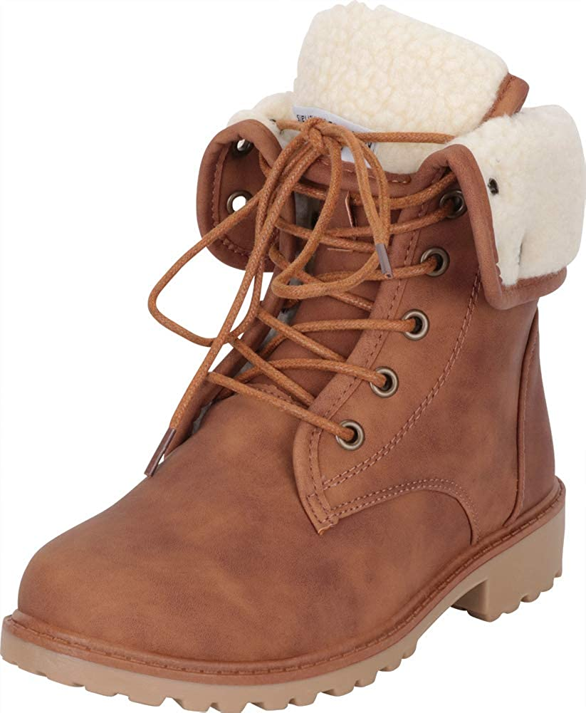 Tan Pu Cambridge Select Women's Lace-Up Foldover Cuff Faux Shearling Lined Lug Sole Ankle Boot