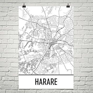 Amazoncom Harare Map Harare Art Harare Print Harare Zimbabwe