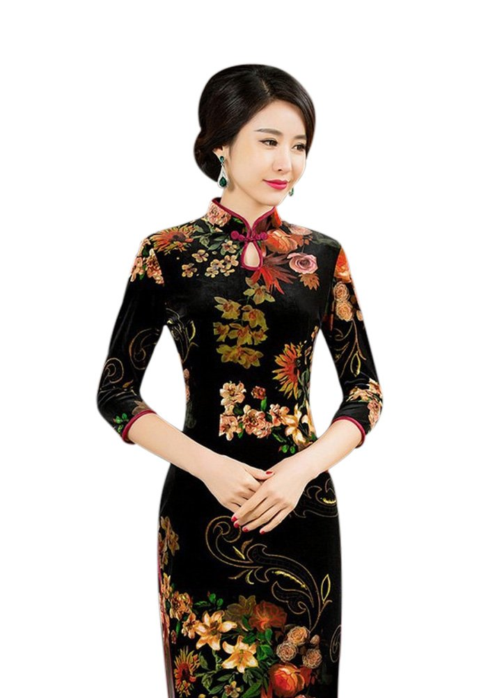 Seacolor Women's Floral 3/4 Sleeve Velvet Vintage Cheongsam Qipao Dress