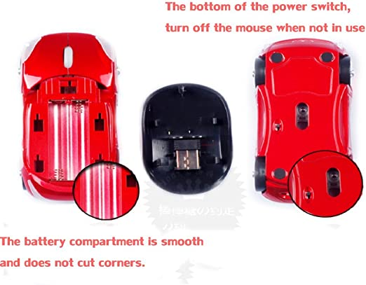DULPLAY Wireless mouse,2.4G portable optical,Creativity,Battery Less noise With USB nano receiver 4 buttons For notebook,Pc,Laptop Office Games 4x2x1inch C 10.6x5.6x3.7cm