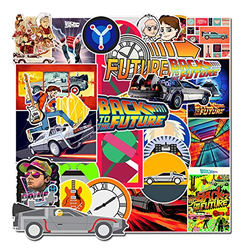 Ratgoo 50 Pcs Waterproof Vinyl Stickers of Back to The Future Vinyl Stickers to Boys Teens Kids Men Adult Gift for Laptop Water Bottle Computer Phone Case Hydro Flask Car Bumper Bicycle Refrigerator (Back To The Future Skateboard For Sale)