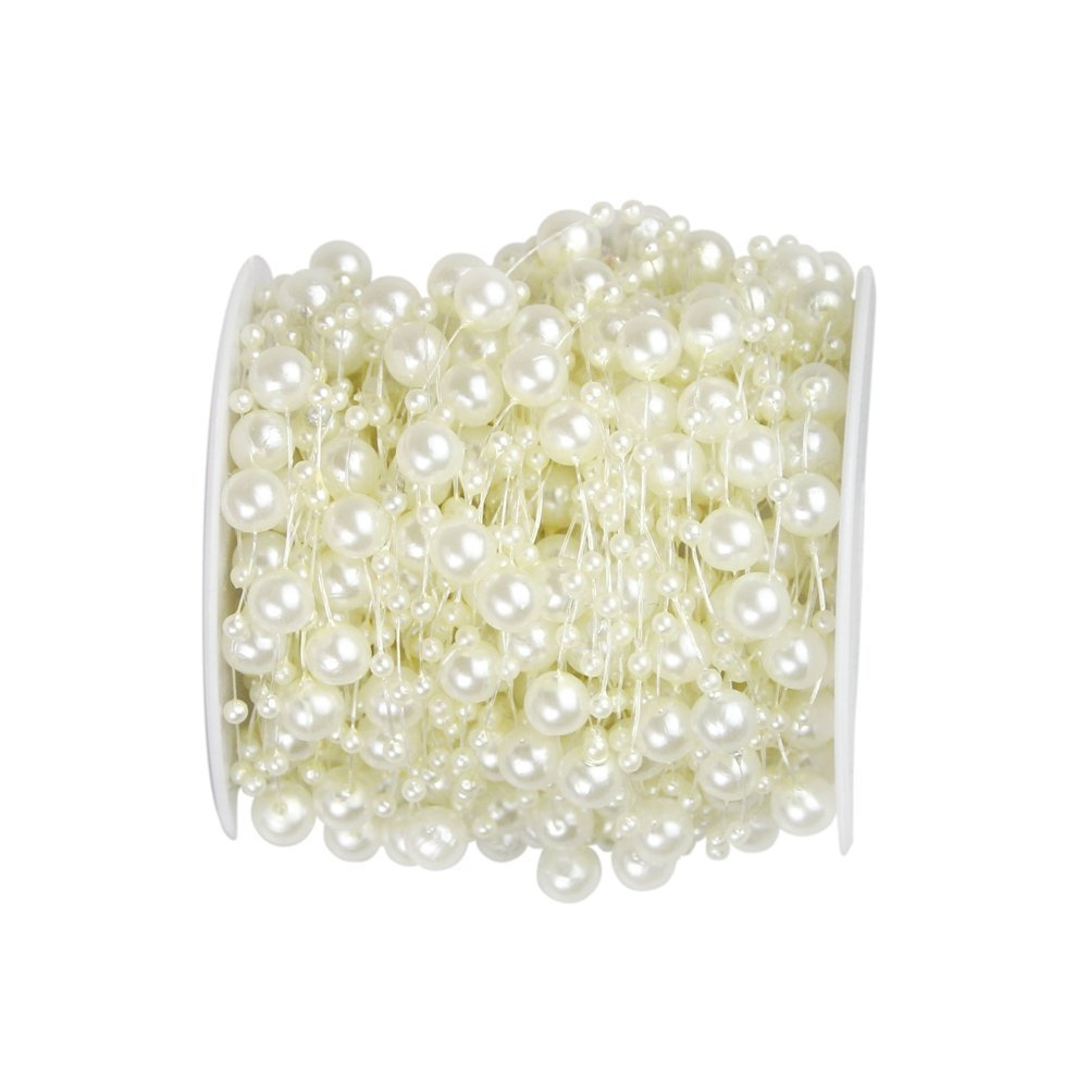 Bingcute 100 Feet Fishing Line Artificial Pearls String Beads Chain Garland Flowers Wedding Party Decoration,Party Supplies