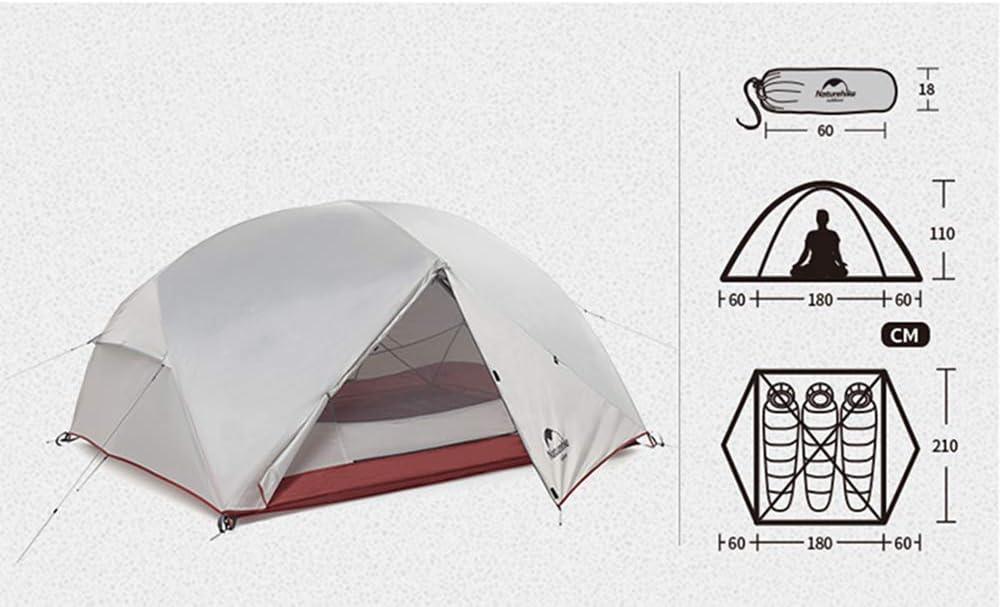 Mongar - Tienda de campaña para 2 o 3 personas 210T de doble capa impermeable 3 person