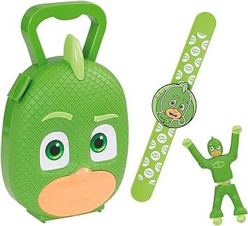 Jamara 410106 PJ Masks Gekko - Juego de 3 Pulseras para Pijama (lanzar Gekko a la Pared y observar cómo Escala, maletín de Transporte Estable y ...