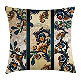Ambesonne Abstract Throw Pillow Cushion Cover by, Paisley Batik Floral Design Ethnic African Hand Drawn Ornament Artwork, Decorative Square Accent Pillow Case, 18 X 18 Inches, Navy Blue Orange Green