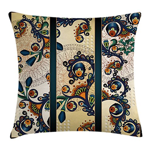 Abstract Throw Pillow Cushion Cover by Ambesonne, Paisley Batik Floral Design Ethnic African Hand Drawn Ornament Artwork, Decorative Square Accent Pillow Case, 24 X 24 Inches, Navy Blue Orange Green (African Batik Art)
