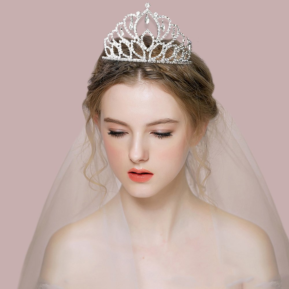 Elegant Tiara Crystal Hair Crown - Rhinestones Headband for Queen, Bridal, Princess in Wedding, Party and Birthday 1-2 - by NIPOO by Nipoo (Image #4)