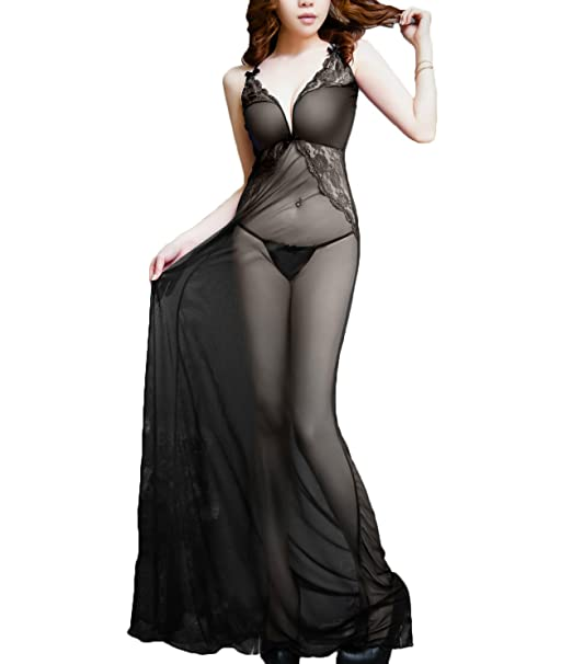 Zukzi Womens See Through Lingerie Dress Sexy V Neck Sheer Nightgown 1 Black