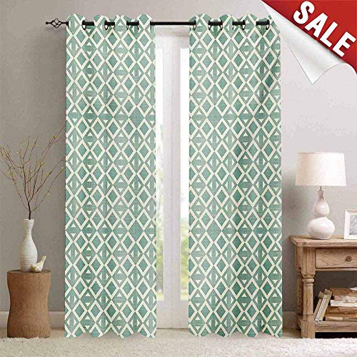 Miki Da Pattern Custom Drape Curtain, Abstract, Triangles and Rhombuses Retro Style Arrangement Geometric Composition, Seafoam and Off White, W96 xL84, with Solid Grommet Top ()