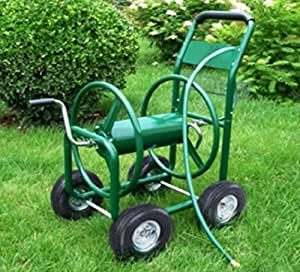 USA Premium Store Garden Water Hose Reel Cart 300FT Outdoor Heavy Duty Yard Planting W/Basket