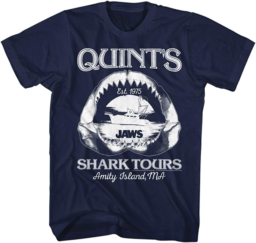 Jaws T-Shirt Quints Shark Tour Jaw Bone Boat Navy Tee