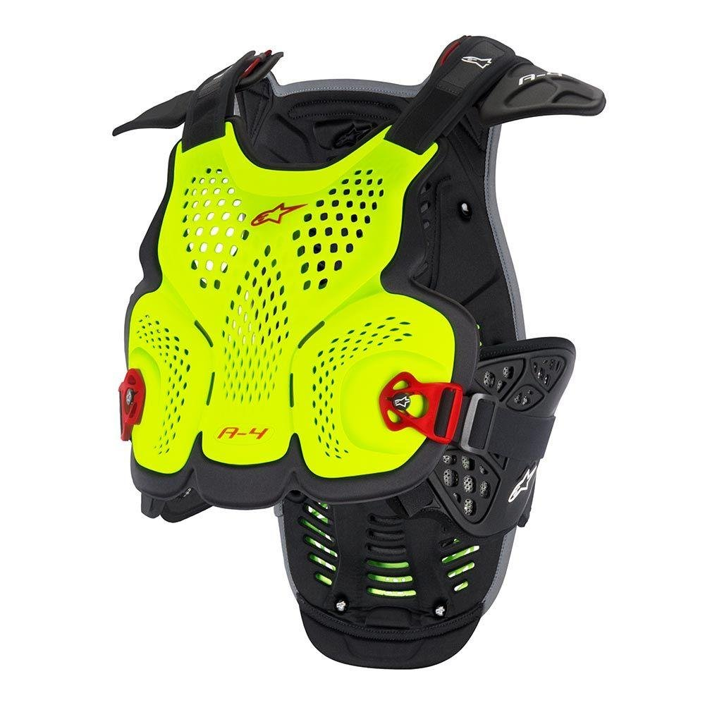 Alpinestars A-4 BlackJack Limited Edition Chest Protector, Size: XL-2XL, Distinct Name: Yellow Fluo/Red, Gender: Mens/Unisex, Primary Color: Yellow