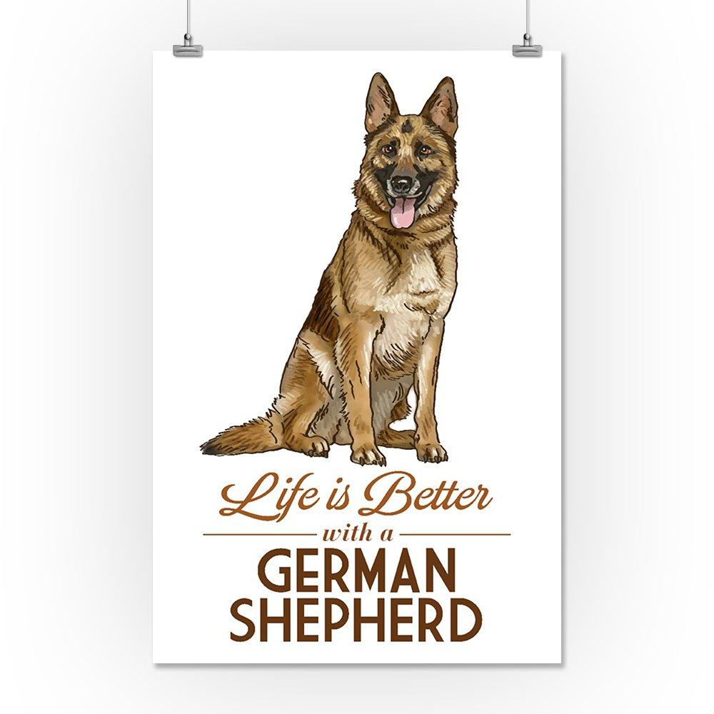 German Shepherd 24x36 Gallery Quality Metal Art Life is Better White Background