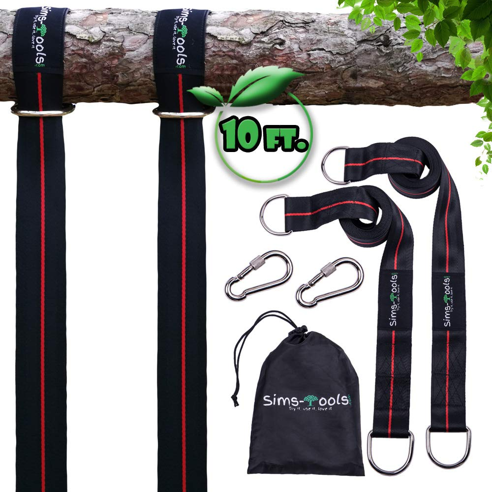 Sims-Tools - Tree Swing Hanging Kit Straps - 2 Extra Long Adjustable Straps 10ft and 2 Strong Carbines - Appropriate for Every Swing Set and Hammock - Outdoor Rope Swing - Quick and Easy Installation by Sims-Tools