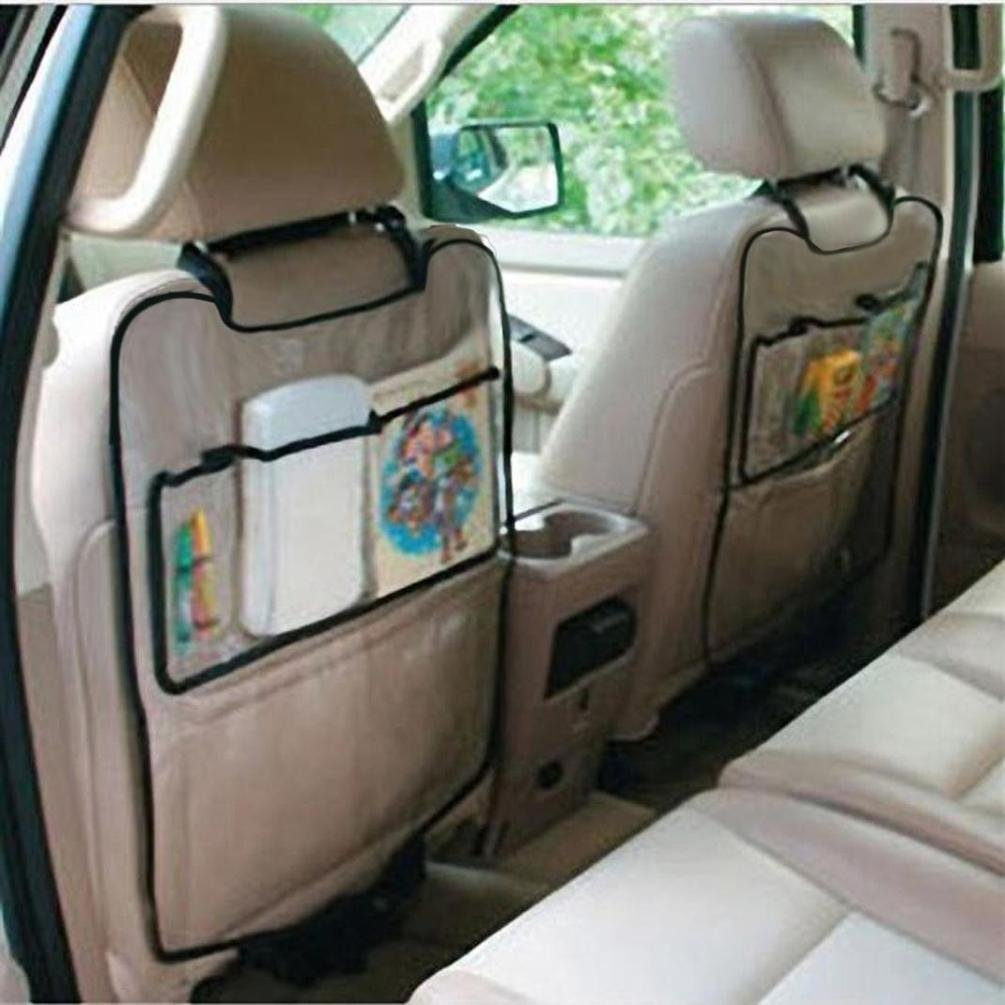 Transer Multi-pocket Car Seat Back Hanging Storage Bag Organizer Holder Pocket Protector Cover For Children Kick 2PC (clear)