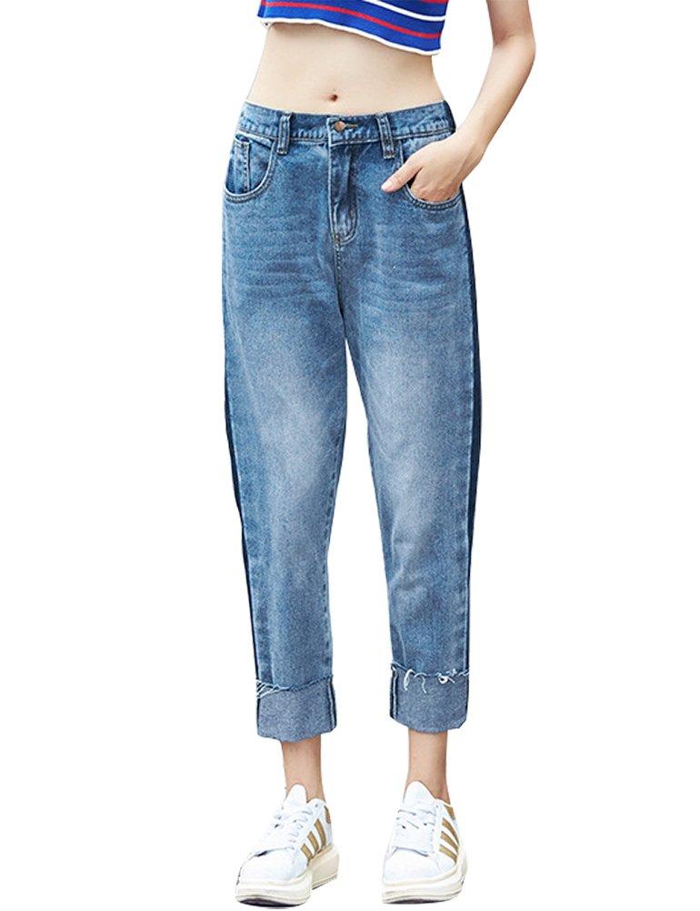 IDEALSANXUN Women's High Waist Loose Fit Harem Denim Pant Jeans (#4 Blue, Large)