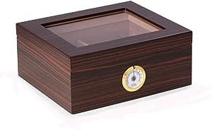 Espresso Wood Cigar Humidor Holds Up to 50 Cigars Humidistat & External Hygrometer