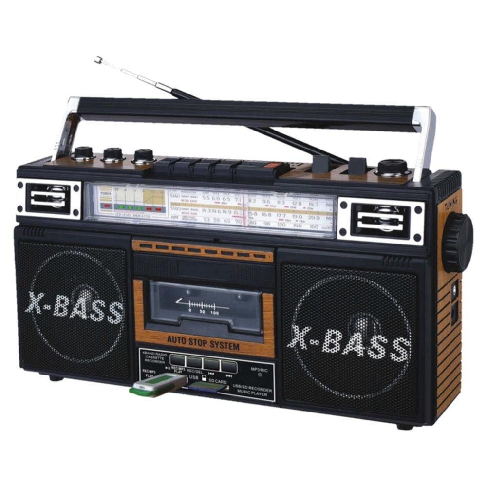 QFX AM/FM/SW1-SW2 4 Band Radio and Cassette to MP3 Converter, and Recorder with USB/SD/MP3 Player-Wood consumer electronics Electronics