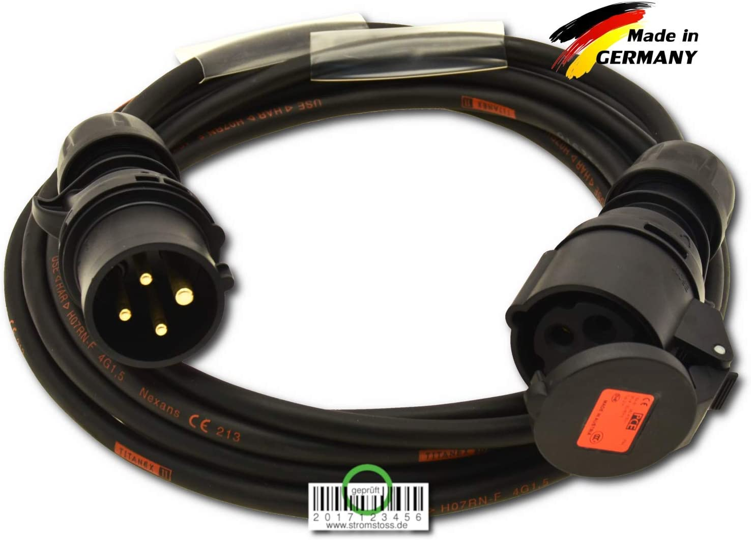 16 A, 4 polos, 400 V, 4 polos, 4 pines, 4 mm/² Cable de motor color negro