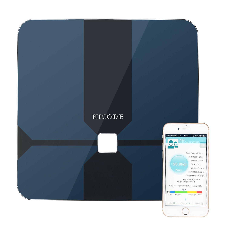 Kicode Báscula Digital de Análisis Corporal Bluetooth Compatible con Android e iOS Mide el Peso Grasa Corporal Porcentaje de Agua Músculo Hueso y Caloría: ...