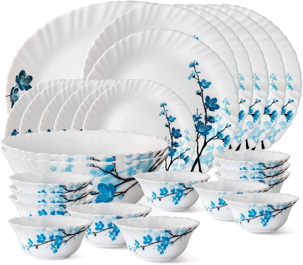 Larah By Borosil Mimosa Opalware Dinner Set, 27-Pieces, White