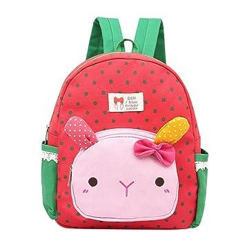 Mochila para niñas - Saihui bonito dibujos animados conejo animales guardería guardería infantil libro mochilas bebé niñas escuela bolsas Watermelon Red: ...