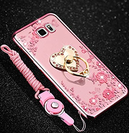 Coque Samsung Galaxy S6 Edge, Coque Galaxy S6 Edge Transparent Liquid Crystal Ultra Fine Premium Souple TPU Silicone avec 360° Support de Téléphone, Etsue Galaxy S6 Edge Luxury Plating Rose Coque Paillette Strass Brillante Bling Glitter d