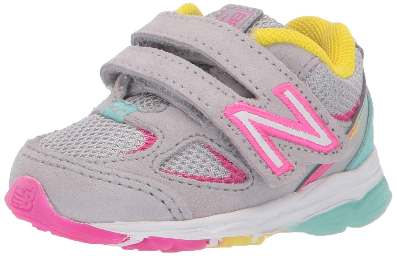 New Balance Girls' 888v2 Hook and Loop Running Shoe, Grey/Rainbow, 12 XW US Little Kid by New Balance