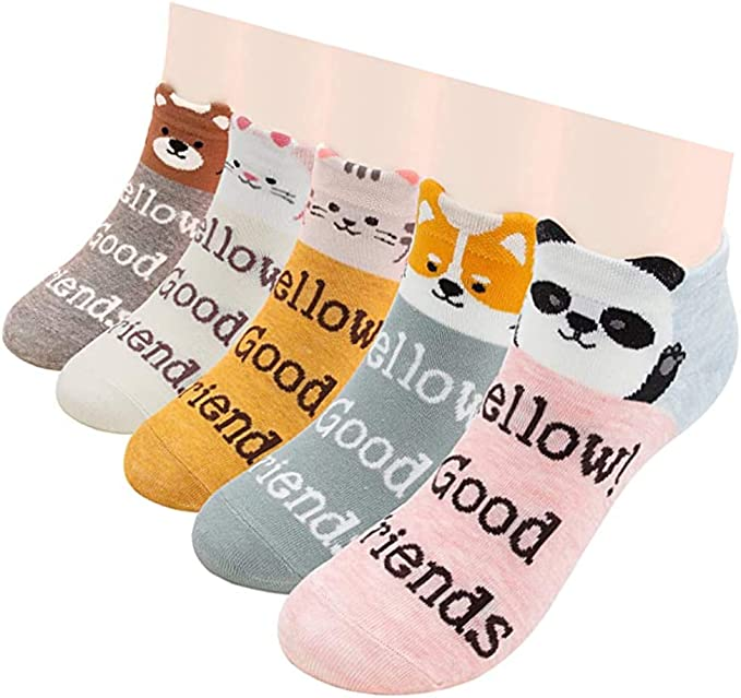 Gomerbesen 5 Pairs Fashion Womens Socks Cotton Novelty Ankle Socks