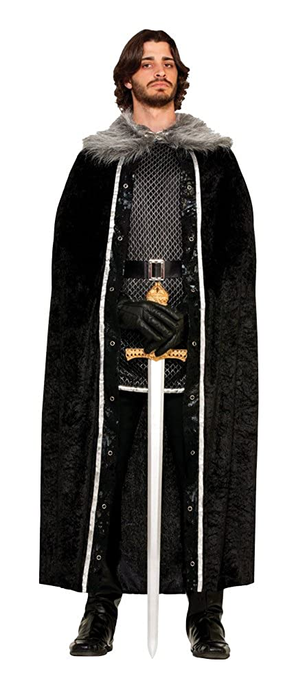 Forum Novelties Men's Medieval Fantasy Faux Fur Trimmed Cape Black One Size Forum Novelties Costumes 72847