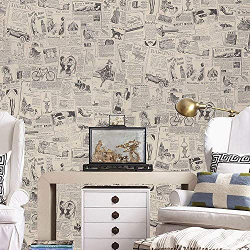 (LIFAVOVY Vintage Newspaper Peel and Stick Wallpaper Decorative Contact Paper Waterproof Self Adhesive Shelf Drawer Liner Roll 17.7