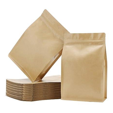 Amazon.com: Eusoar - 50 bolsas de papel kraft con cierre de ...