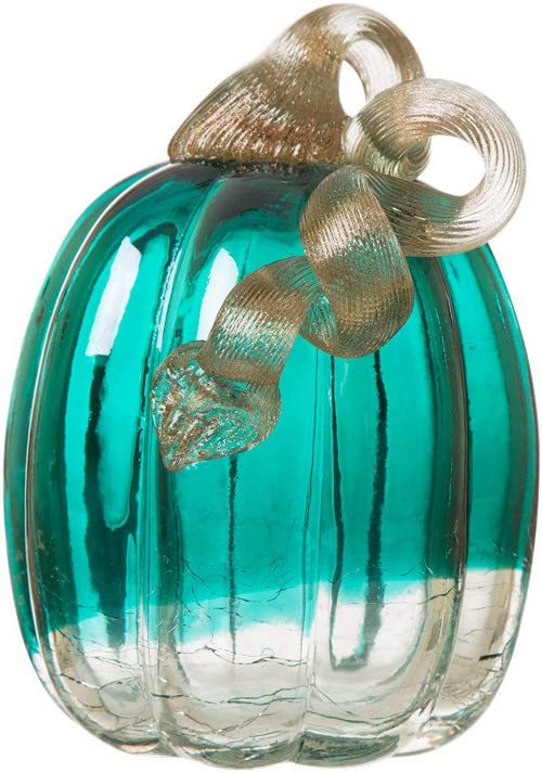 Glitzhome Hand Blown Crackle Glass Pumpkin Elegant Table Accent, 5.52 Inch, Turquoise
