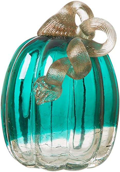 "Aqua Mercury Glass Pumpkin Ornate Metal Stem Turquoise Elegant Large Decor 10/"""