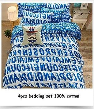 4 Englisch Buchstabe Print Bettwäsche Sets 100 Baumwolle Queen 1