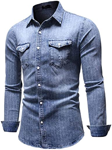 whcct Camisa Hombre Casual Panel de Rayas con Botones Camisa ...