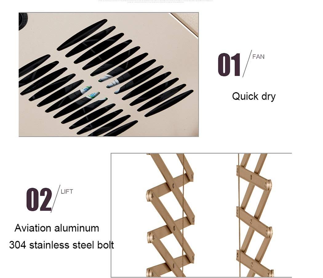 Electric Laundry Drying Rack Ceiling Mounted Clothes Drying Rack with LED Light, Drying Fan, UV Sterilization Remote Control (Color : Silver, Design : 8 crossbars-110v) by LHFJ (Image #7)
