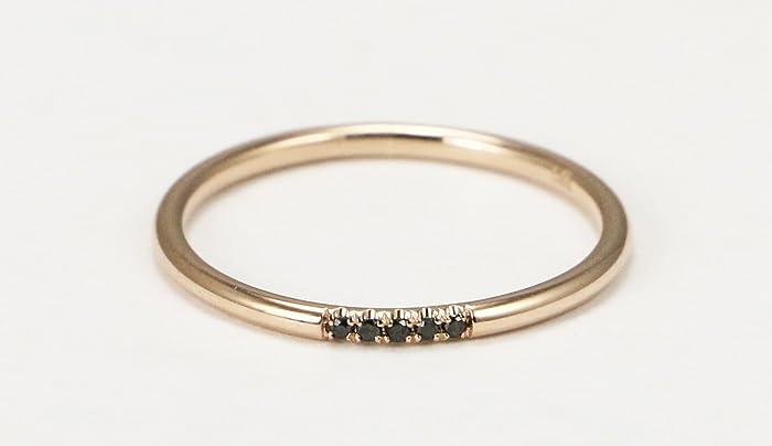 14k Rose Gold Black Diamond Wedding Band Stacking Ring