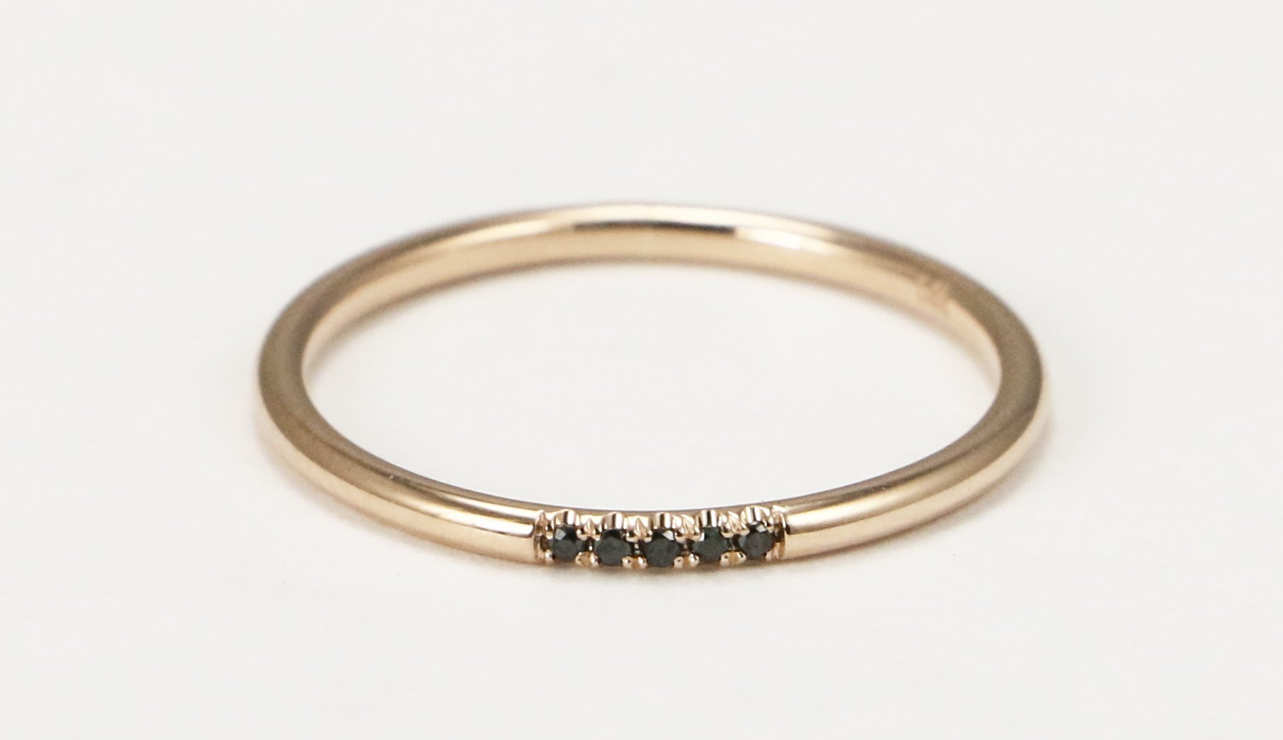 14k Rose Gold Black Diamond Wedding Band, Black Diamond Stacking Ring by Ice on Fire Jewelry