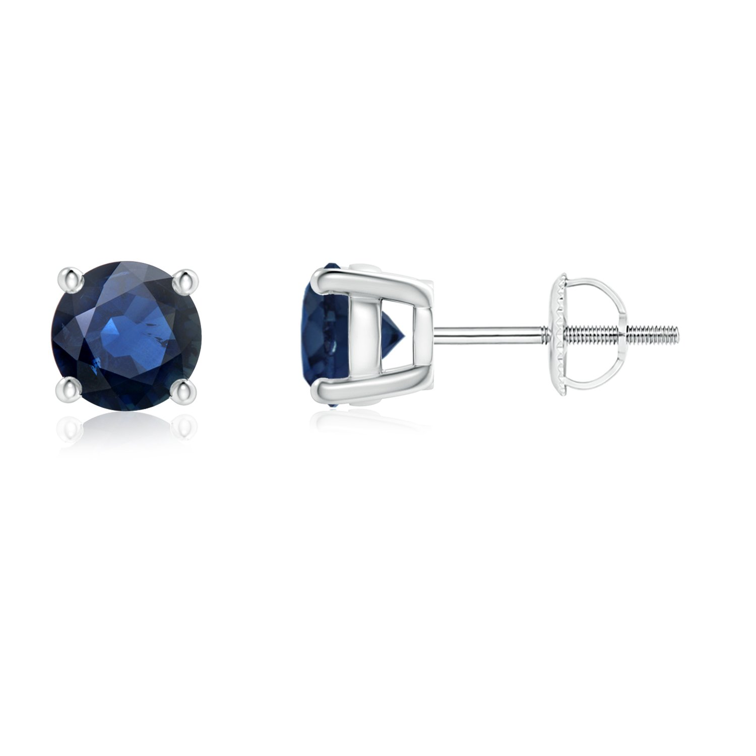 7177e7032 Mother's Day Sale - Round Blue Sapphire Stud Earrings in 14K White Gold (3mm  Blue Sapphire): Amazon.ca: Jewelry