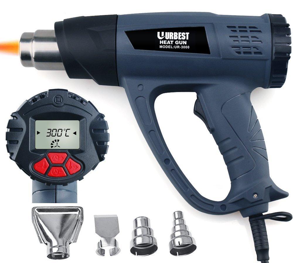 Heat Gun Hot Gun Hot Air Blower Tablet URBEST Heat Gun with LCD Display 1500W Wireless Heat Gun Wind Control Memory Function Hot Air Gun Kits(Memory Function Heat Gun)