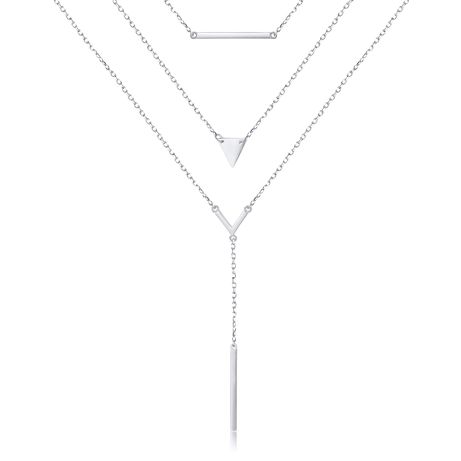 S925 Sterling Silver Multilayer Dot Bar Layered Triple Long Chain Pendant Necklace for Women (White 2)