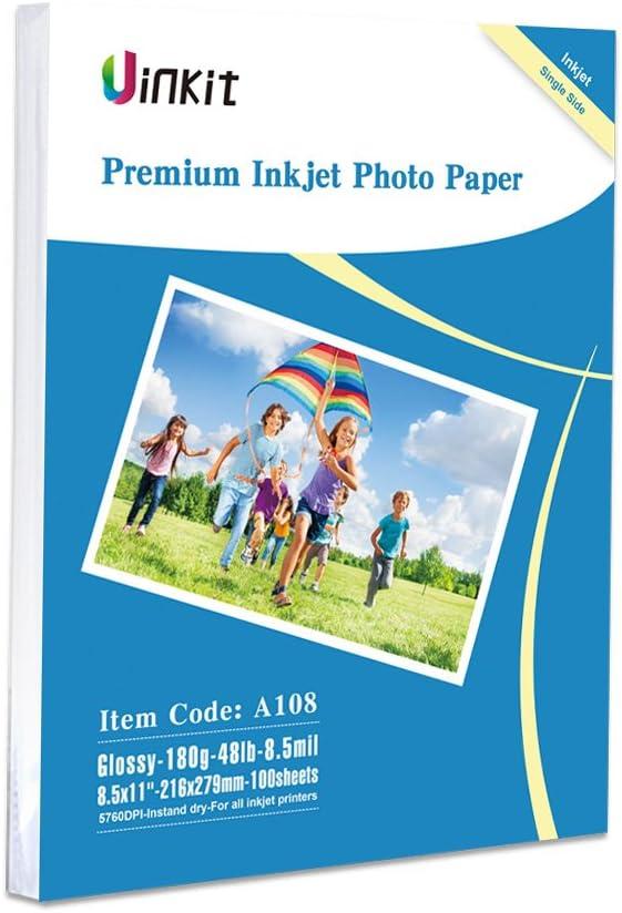 Glossy Photo Paper 8.5x11-100Sheets Uinkit Inkjet Paper 8.5Mil 180Gsm for Inkjet Printer