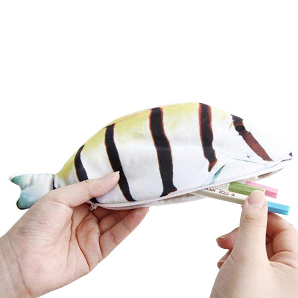 LAAT Caja de l/ápiz con Cremallera Organizador de l/ápiz Monedero Caja de l/ápiz en Forma de pez Estilo 2